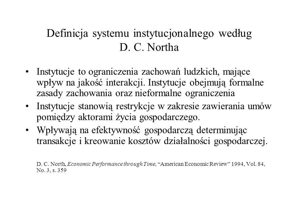 Definicja systemu instytucjonalnego według D. C. Northa Instytucje to ograniczenia zachowań ludzkich, mające wpływ na jakość interakcji. Instytucje ob