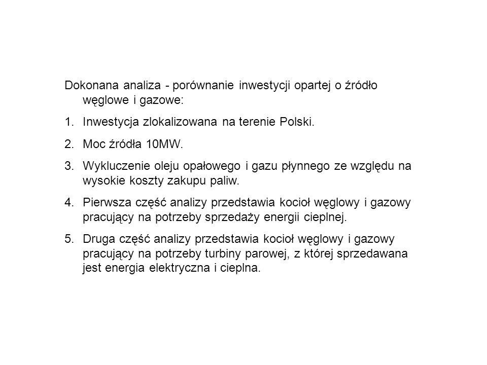 Dokonana analiza - porównanie inwestycji opartej o źródło węglowe i gazowe: 1.Inwestycja zlokalizowana na terenie Polski. 2.Moc źródła 10MW. 3.Wyklucz