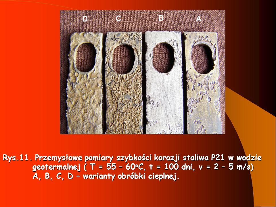 Rys.11. Przemysłowe pomiary szybkości korozji staliwa P21 w wodzie geotermalnej ( T = 55 – 60 o C, t = 100 dni, v = 2 – 5 m/s) geotermalnej ( T = 55 –