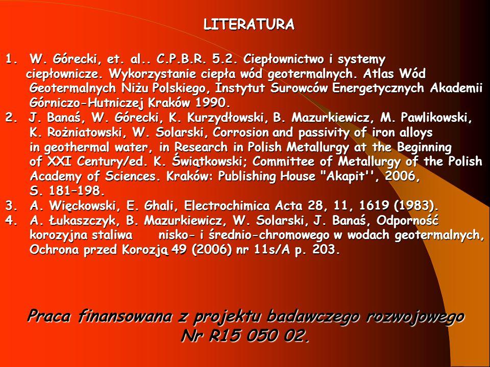 1.W. Górecki, et. al.. C.P.B.R. 5.2. Ciepłownictwo i systemy ciepłownicze. Wykorzystanie ciepła wód geotermalnych. Atlas Wód Geotermalnych Niżu Polski