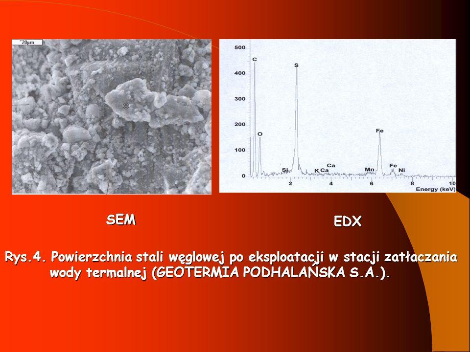 Rys.4. Powierzchnia stali węglowej po eksploatacji w stacji zatłaczania wody termalnej (GEOTERMIA PODHALAŃSKA S.A.). wody termalnej (GEOTERMIA PODHALA