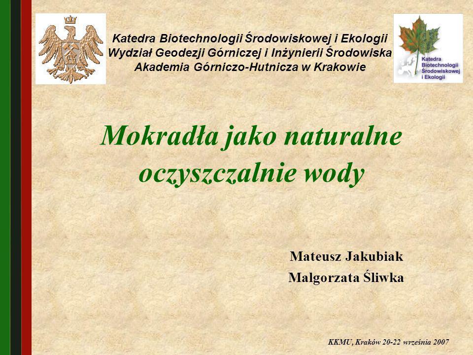 Mokradła jako naturalne oczyszczalnie wody Mateusz Jakubiak Malgorzata Śliwka Katedra Biotechnologii Środowiskowej i Ekologii Wydział Geodezji Górnicz