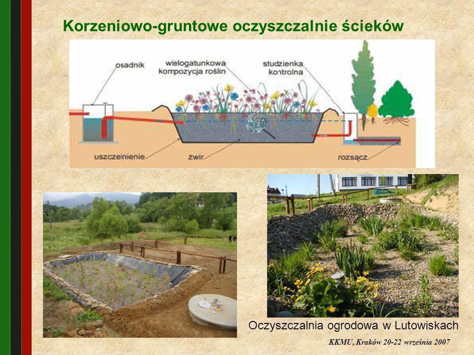 Korzeniowo-gruntowe oczyszczalnie ścieków Oczyszczalnia ogrodowa w Lutowiskach KKMU, Kraków 20-22 września 2007