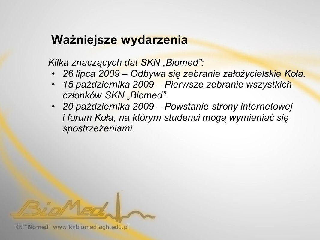 Ważniejsze wydarzenia Kilka znaczących dat SKN Biomed: 26 lipca 2009 – Odbywa się zebranie założycielskie Koła. 15 października 2009 – Pierwsze zebran
