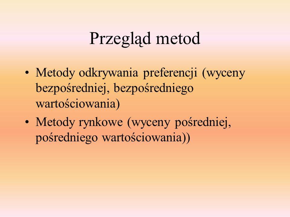 Przegląd metod Metody odkrywania preferencji (wyceny bezpośredniej, bezpośredniego wartościowania) Metody rynkowe (wyceny pośredniej, pośredniego wart