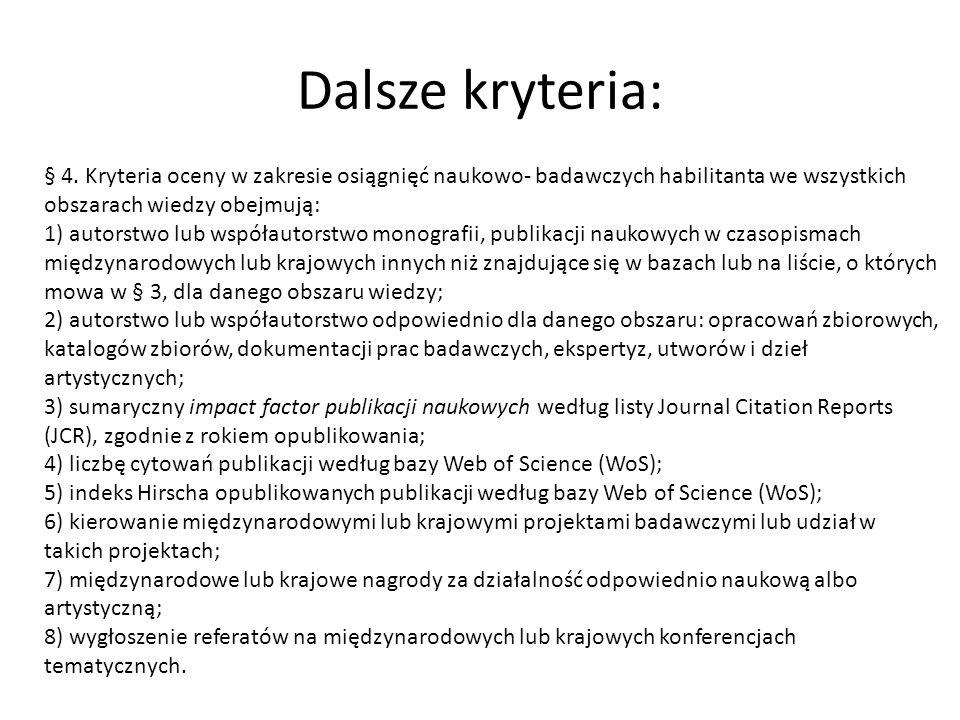 Dalsze kryteria: § 4. Kryteria oceny w zakresie osiągnięć naukowo- badawczych habilitanta we wszystkich obszarach wiedzy obejmują: 1) autorstwo lub ws