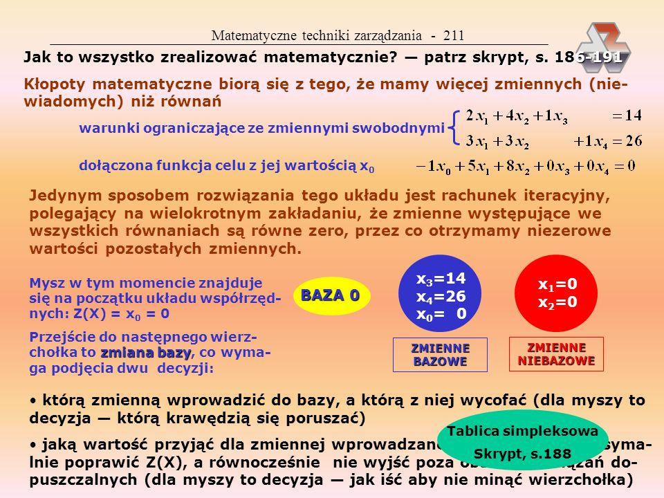Matematyczne techniki zarządzania - 221 C 4.