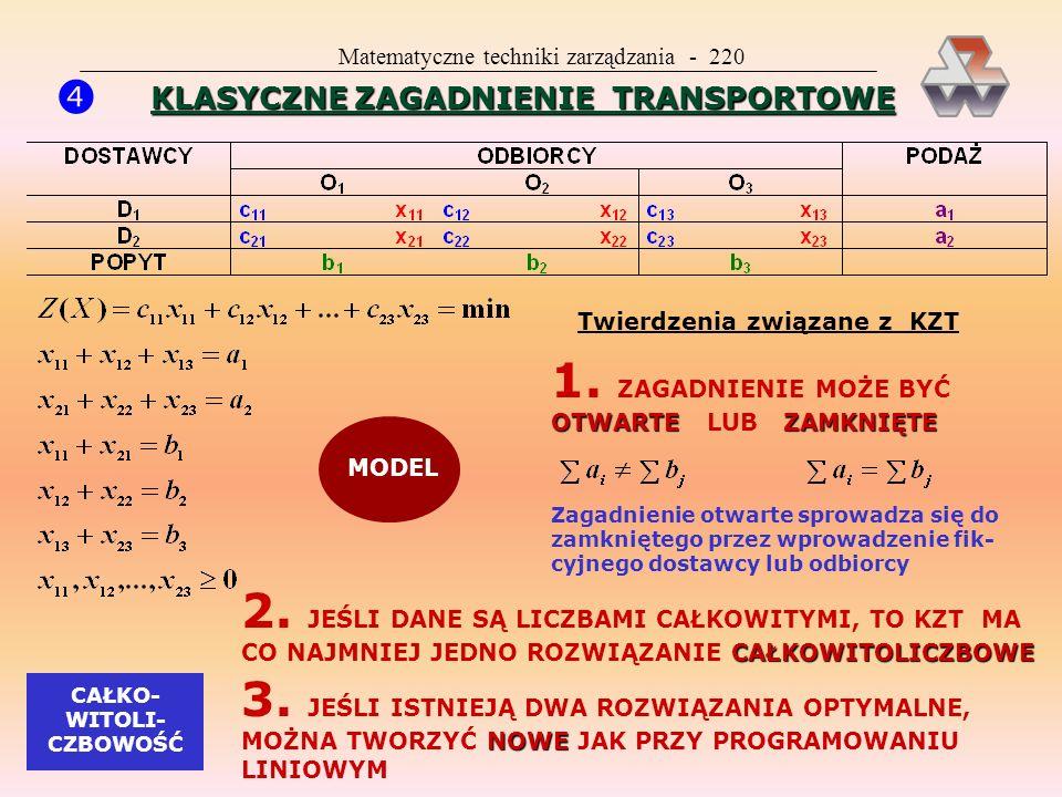 Matematyczne techniki zarządzania - 219 ZAST0SOWANIA PROGRAMOWANIA LINIOWEGO JEST TO METODA UNIWERSALNA PRAWIE WSZYSTKO MOŻNA ZAPISAĆ JAKO MODEL PROGR