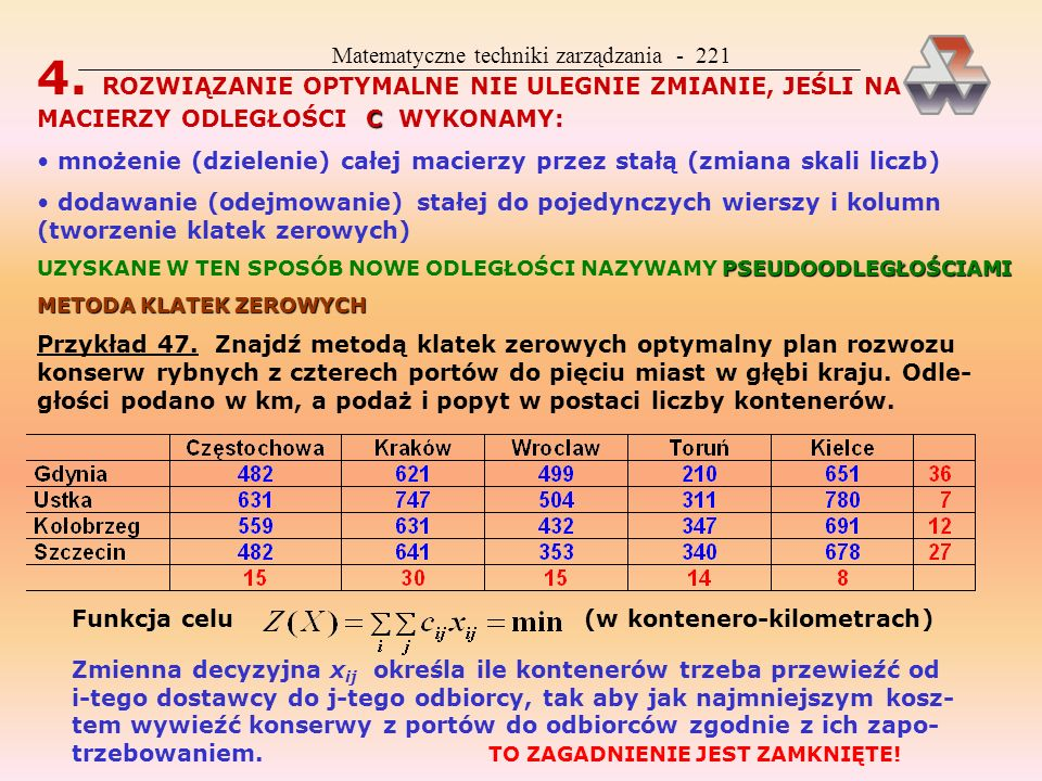 Matematyczne techniki zarządzania - 220 KLASYCZNE ZAGADNIENIE TRANSPORTOWE MODEL Twierdzenia związane z KZT OTWARTEZAMKNIĘTE 1. ZAGADNIENIE MOŻE BYĆ O
