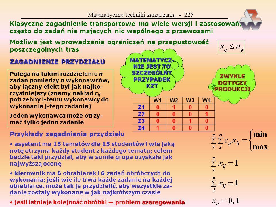 Matematyczne techniki zarządzania - 224 INNE METODY RĘCZNE metoda Forda-Fulkersona (tworzenie dalszych klatek zerowych) metoda kąta północno-zachodnie