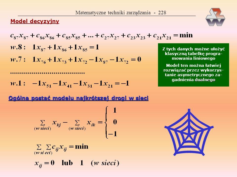 Matematyczne techniki zarządzania - 227 Programowanie liniowe Programowanie liniowe sieć jest szczególnym przypadkiem za- gadnienia przydziału: zmienn