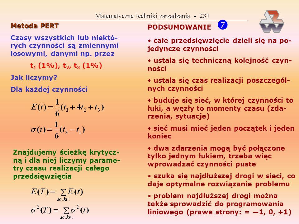 Matematyczne techniki zarządzania - 230 Istnieje wiele rodzajów zapasu czasu i wiele metod jego obliczania Wszystkie one bazują na danych: x i, x j, y