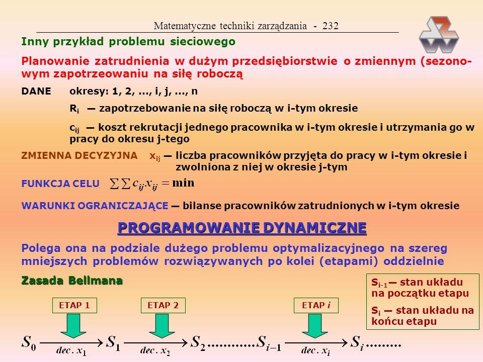 Matematyczne techniki zarządzania - 231 Metoda PERT Czasy wszystkich lub niektó- rych czynności są zmiennymi losowymi, danymi np. przez t 1 (1%), t 2,