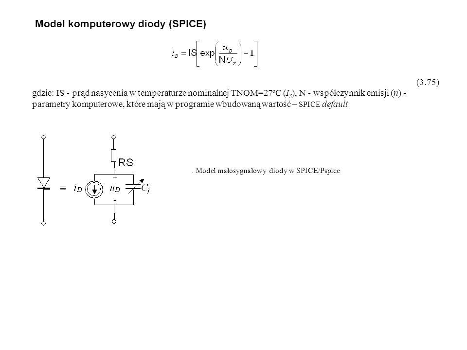 (3.75) gdzie: IS - prąd nasycenia w temperaturze nominalnej TNOM=27 o C (I S ), N - współczynnik emisji (n) - parametry komputerowe, które mają w pro