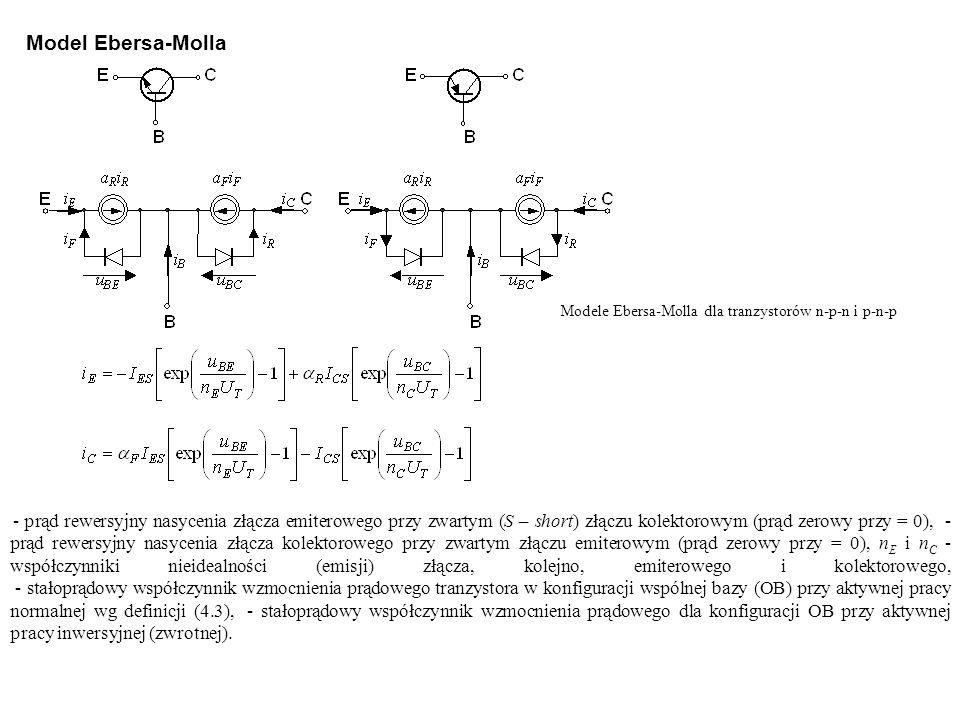 Modele Ebersa-Molla dla tranzystorów n-p-n i p-n-p Model Ebersa-Molla - prąd rewersyjny nasycenia złącza emiterowego przy zwartym (S – short) złączu k