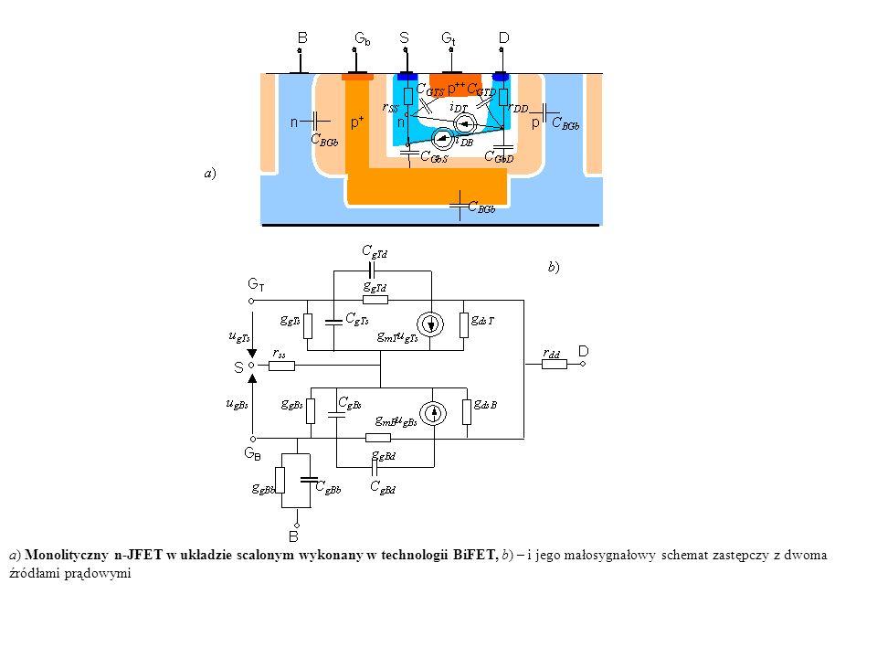a) Monolityczny n-JFET w układzie scalonym wykonany w technologii BiFET, b) – i jego małosygnałowy schemat zastępczy z dwoma źródłami prądowymi