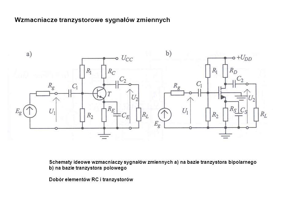 Wzmacniacze tranzystorowe sygnałów zmiennych Schematy ideowe wzmacniaczy sygnałów zmiennych a) na bazie tranzystora bipolarnego b) na bazie tranzystor