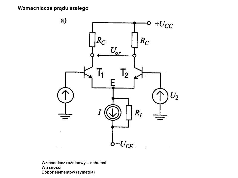 Wzmacniacze prądu stałego Wzmacniacz różnicowy – schemat Własności Dobór elementów (symetria)