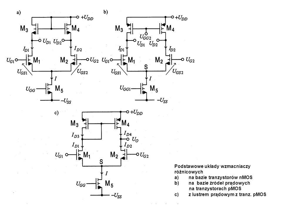 Podstawowe układy wzmacniaczy różnicowych a)na bazie tranzystorów nMOS b)na bazie źródeł prądowych na tranzystorach pMOS c)z lustrem prądowym z tranz.