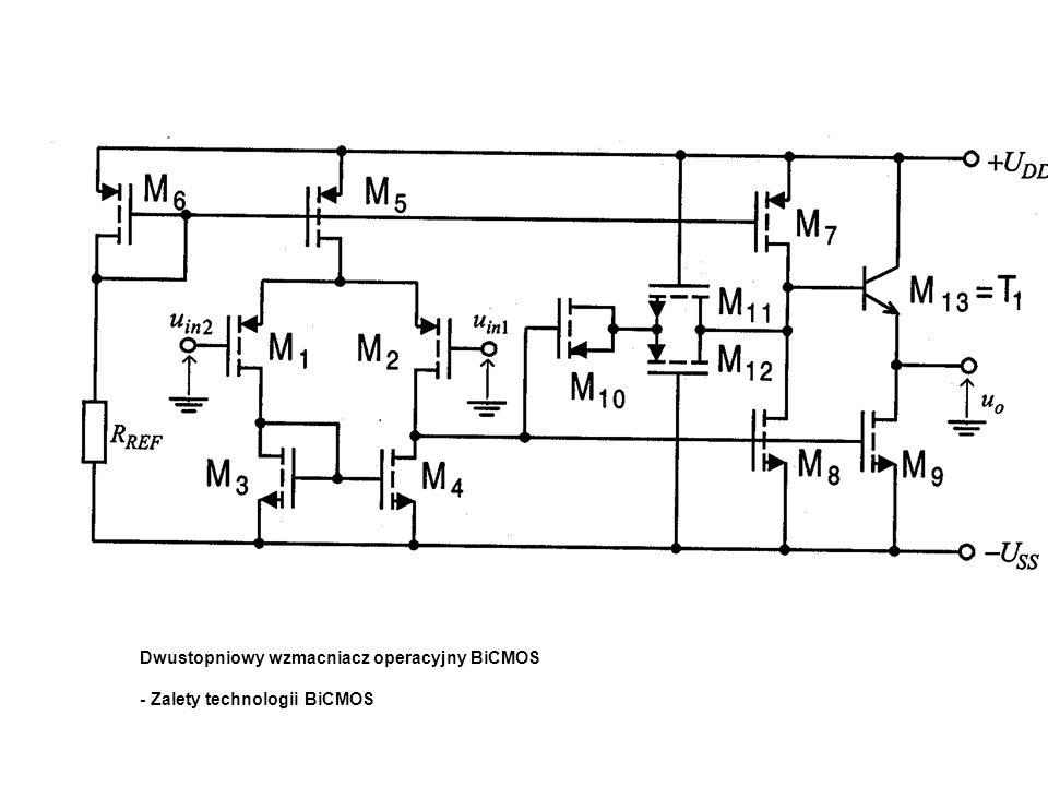 Dwustopniowy wzmacniacz operacyjny BiCMOS - Zalety technologii BiCMOS