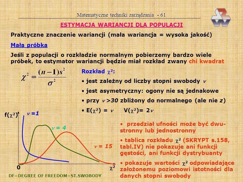 Matematyczne techniki zarządzania - 61 ESTYMACJA WARIANCJI DLA POPULACJI Praktyczne znaczenie wariancji (mała wariancja = wysoka jakość) Mała próbka Jeśli z populacji o rozkładzie normalnym pobierzemy bardzo wiele próbek, to estymator wariancji będzie miał rozkład zwany chi kwadrat Rozkład 2 : jest zależny od liczby stopni swobody jest asymetryczny: ogony nie są jednakowe przy >30 zbliżony do normalnego (ale nie z) E( 2 ) = V( 2 )= 2 f( 2 ) 0 2 =1 = 4 = 15 przedział ufności może być dwu- stronny lub jednostronny tablica rozkładu 2 (SKRYPT s.158, tabl.IV) nie pokazuje ani funkcji gęstości, ani funkcji dystrybuanty pokazuje wartości 2 odpowiadające założonemu poziomowi istotności dla danych stopni swobody DF=DEGREE OF FREEDOM=ST.SWOBODY