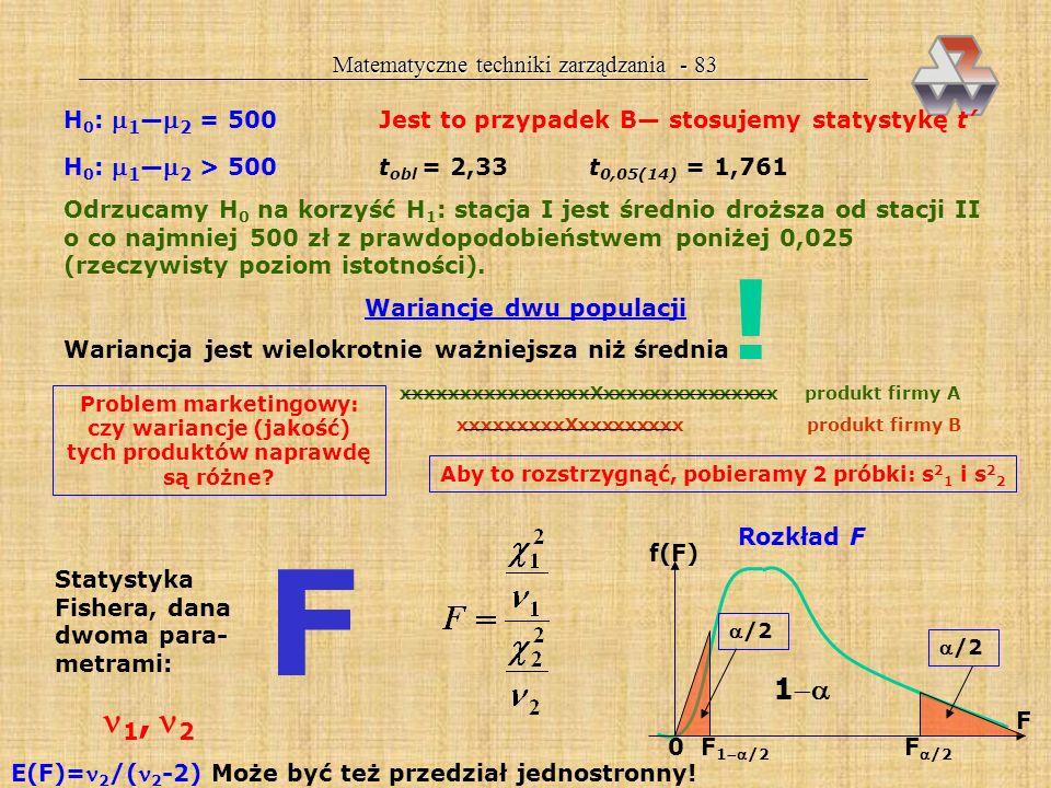 Matematyczne techniki zarządzania - 82 wartość statystyki t 0,025(17) = 2,11 dolna granica przedziału ufności (0,09) (2,11)(0,04758) = 0,19 ppm górna