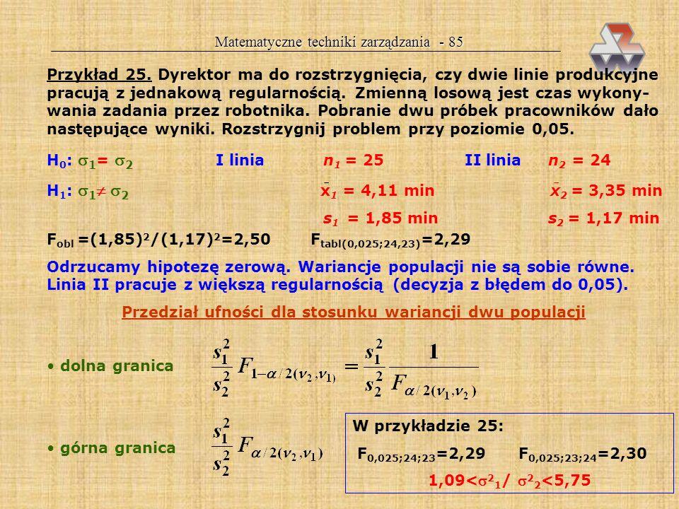 Matematyczne techniki zarządzania - 84 Tablice rozkładu F dla każdego oddzielna tablica! =0,05 W skrypcie: tabl.V (s.159-160) TYLKO PRAWY OGON!!! H 0
