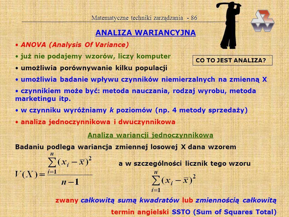 Matematyczne techniki zarządzania - 85 Przykład 25. Dyrektor ma do rozstrzygnięcia, czy dwie linie produkcyjne pracują z jednakową regularnością. Zmie