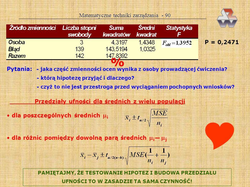 Matematyczne techniki zarządzania - 89 F 0,05(2;27) =3,35 Odrzucamy hipotezę, że wszystkie skrypty są jednakowe. Wnioskujemy, że różnice w wynikach ko