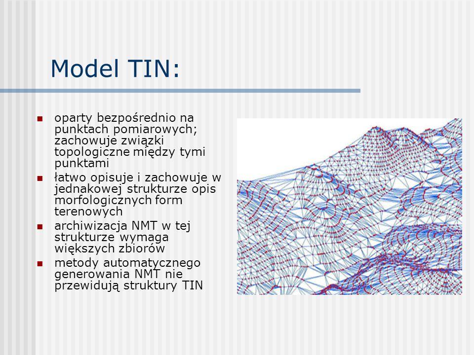 Model TIN: do automatycznego tworzenia siatki trójkątów najczęściej wykorzystywana jest triangulacja Delaunaya: trójkąty tworzone są w ten sposób aby żaden z punktów nie należących do niego nie był położony wewnątrz okręgu opisanego na trójkącie.