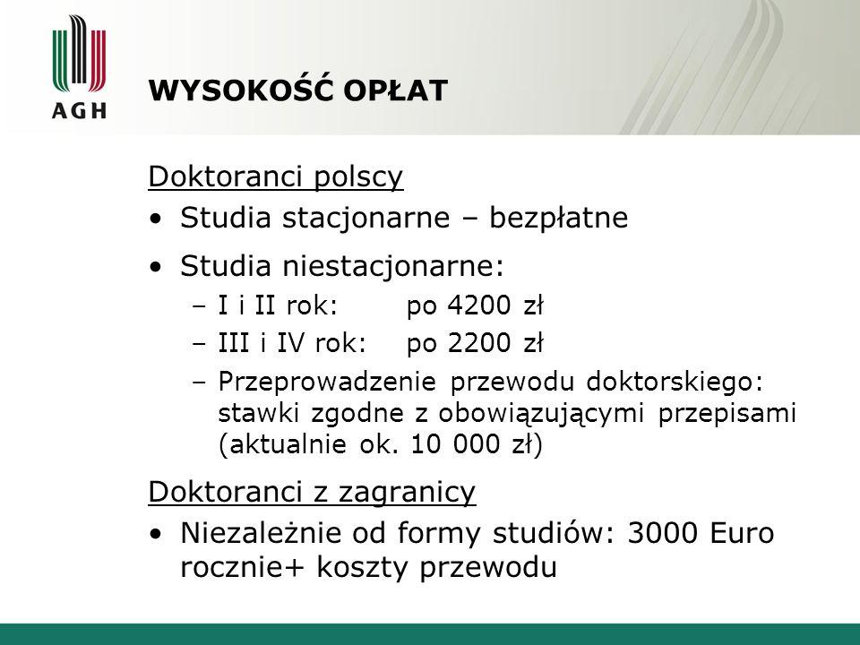 WYSOKOŚĆ OPŁAT Doktoranci polscy Studia stacjonarne – bezpłatne Studia niestacjonarne: –I i II rok: po 4200 zł –III i IV rok: po 2200 zł –Przeprowadze