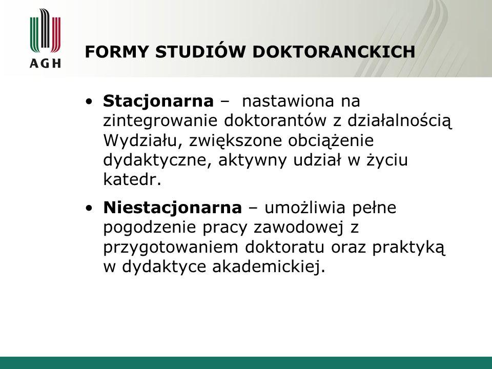 FORMY STUDIÓW DOKTORANCKICH Stacjonarna – nastawiona na zintegrowanie doktorantów z działalnością Wydziału, zwiększone obciążenie dydaktyczne, aktywny