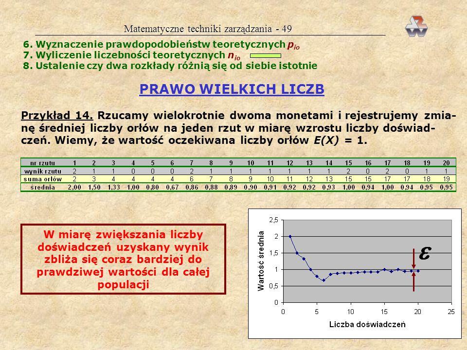 Matematyczne techniki zarządzania - 48 Wykres liściowy Angielskie stem-and-leaf plots Umożliwia szybkie analizowanie zjawisk Przykład z oszustwem kasj