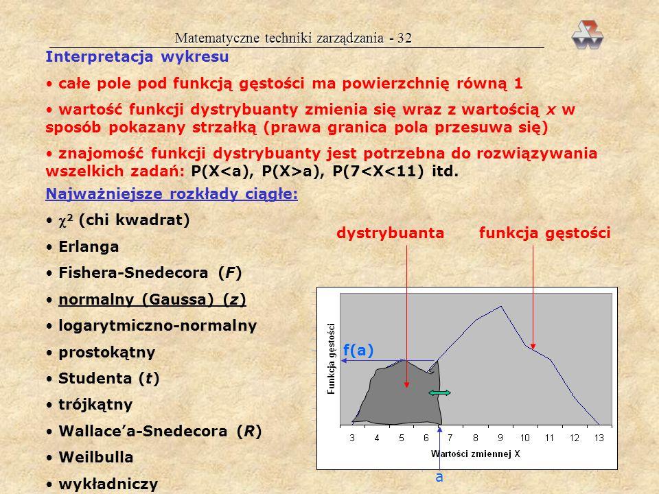 Matematyczne techniki zarządzania - 31 ZMIENNE LOSOWE CIĄGŁE Są to zmienne, które mogą przyjmować wartości z nieprzeliczalnego zbioru wartości (przy z