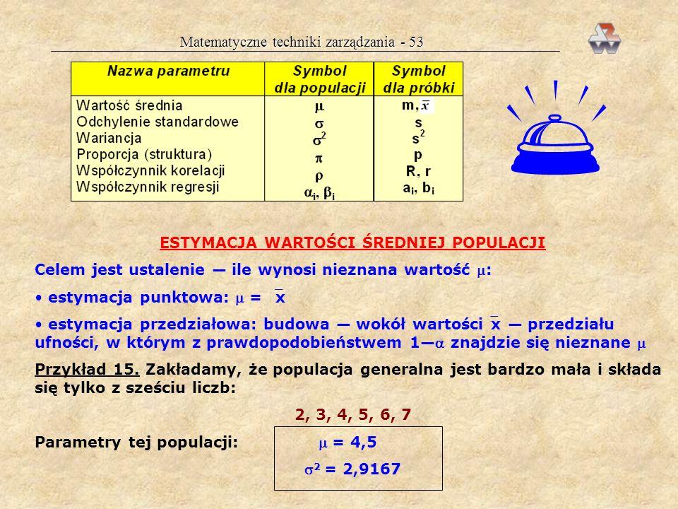 Matematyczne techniki zarządzania - 52 Estymator jest to zmienna losowa, której realizacjami są wartości rozwa- żanego parametru powstałe przez pobran
