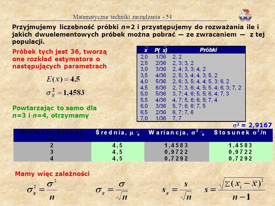Matematyczne techniki zarządzania - 53 ESTYMACJA WARTOŚCI ŚREDNIEJ POPULACJI Celem jest ustalenie ile wynosi nieznana wartość : estymacja punktowa: =