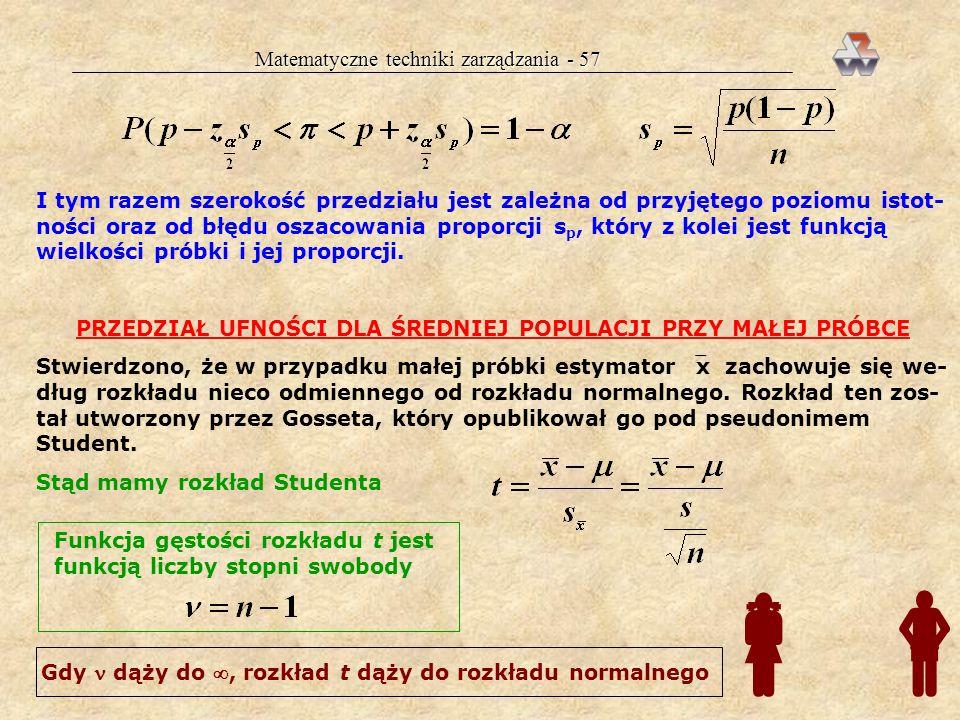 Matematyczne techniki zarządzania - 56 jeśli losowanie było pechowe, to nie- znane leży z szansą /2: 1. albo poniżej dg 2. albo powyżej gg WIĘCEJ O NI