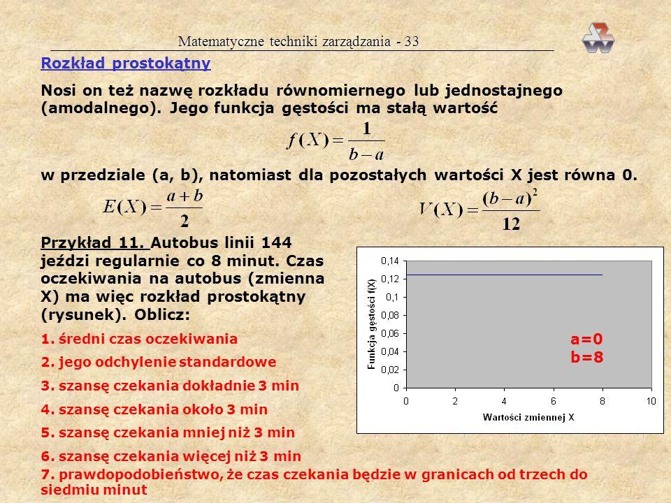Matematyczne techniki zarządzania - 53 ESTYMACJA WARTOŚCI ŚREDNIEJ POPULACJI Celem jest ustalenie ile wynosi nieznana wartość : estymacja punktowa: = x estymacja przedziałowa: budowa wokół wartościx przedziału ufności, w którym z prawdopodobieństwem 1 znajdzie się nieznane Przykład 15.