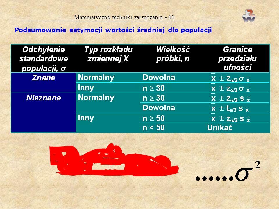 Matematyczne techniki zarządzania - 59 Fragment tablicy rozkładu Studenta Przedział ufności dla średniej dla populacji przy małej próbce wszystkie obl