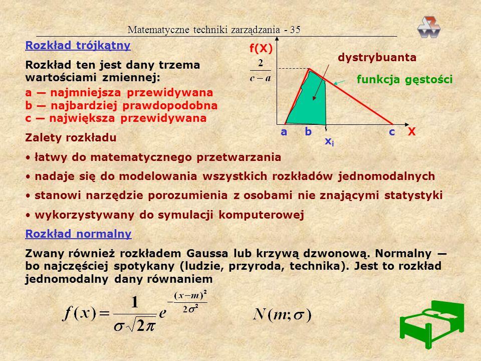 Matematyczne techniki zarządzania - 35 Rozkład trójkątny Rozkład ten jest dany trzema wartościami zmiennej: f(X) X funkcja gęstości abc a najmniejsza przewidywana b najbardziej prawdopodobna c największa przewidywana xixi dystrybuanta Zalety rozkładu łatwy do matematycznego przetwarzania nadaje się do modelowania wszystkich rozkładów jednomodalnych stanowi narzędzie porozumienia z osobami nie znającymi statystyki wykorzystywany do symulacji komputerowej Rozkład normalny Zwany również rozkładem Gaussa lub krzywą dzwonową.