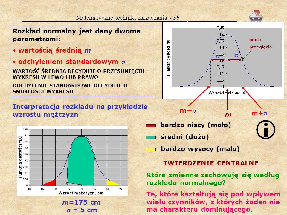 Matematyczne techniki zarządzania - 36 Rozkład normalny jest dany dwoma parametrami: wartością średnią m odchyleniem standardowym WARTOŚĆ ŚREDNIA DECYDUJE O PRZESUNIĘCIU WYKRESU W LEWO LUB PRAWO ODCHYLENIE STANDARDOWE DECYDUJE O SMUKŁOŚCI WYKRESU m punkt przegięcia Interpretacja rozkładu na przykładzie wzrostu mężczyzn m=175 cm = 5 cm bardzo niscy (mało) średni (dużo) bardzo wysocy (mało) TWIERDZENIE CENTRALNE Które zmienne zachowuję się według rozkładu normalnego.
