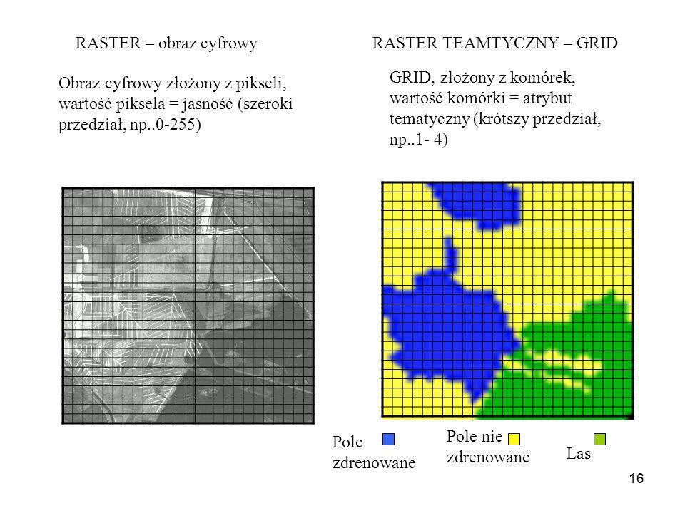 16 Obraz cyfrowy złożony z pikseli, wartość piksela = jasność (szeroki przedział, np..0-255) GRID, złożony z komórek, wartość komórki = atrybut tematy