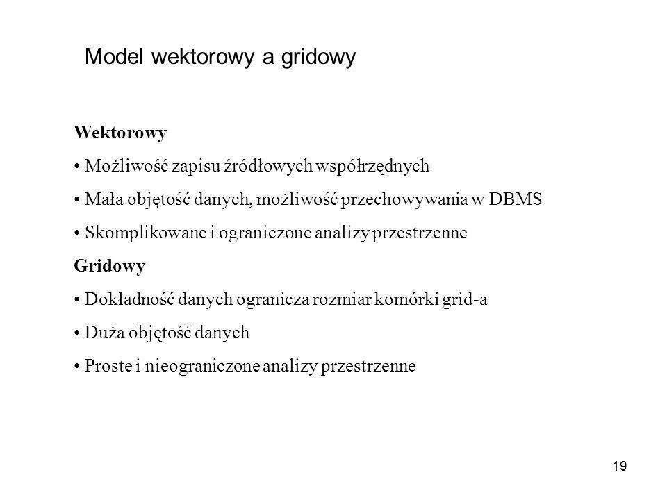 19 Model wektorowy a gridowy Wektorowy Możliwość zapisu źródłowych współrzędnych Mała objętość danych, możliwość przechowywania w DBMS Skomplikowane i
