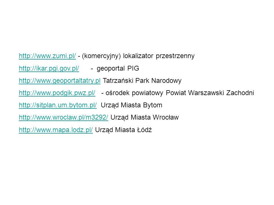 http://www.zumi.pl/http://www.zumi.pl/ - (komercyjny) lokalizator przestrzenny http://ikar.pgi.gov.pl/http://ikar.pgi.gov.pl/ - geoportal PIG http://w