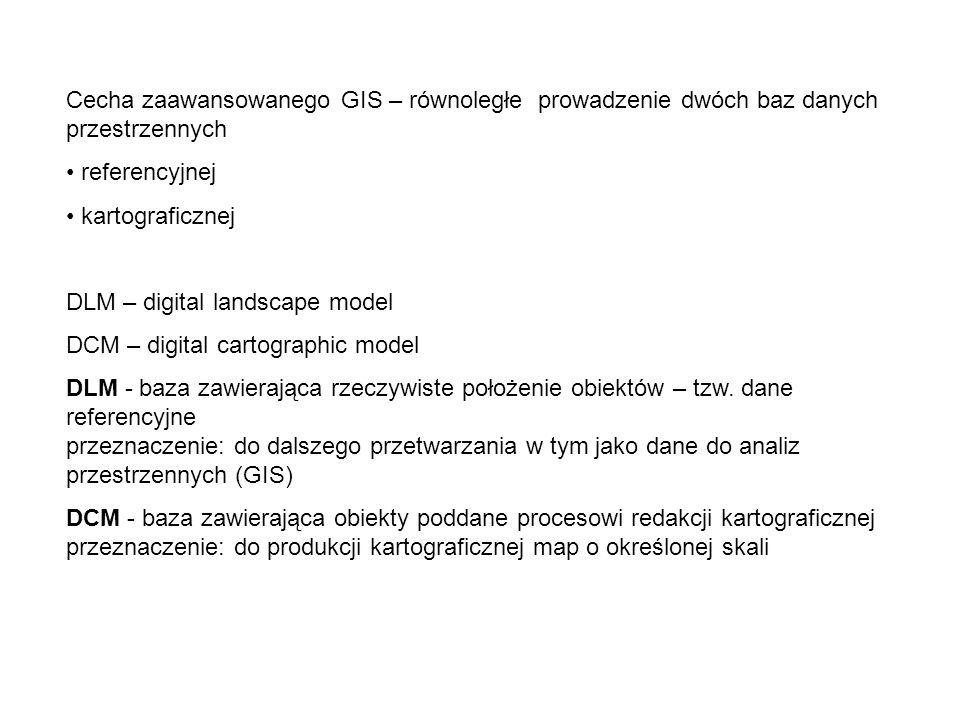 Cecha zaawansowanego GIS – równoległe prowadzenie dwóch baz danych przestrzennych referencyjnej kartograficznej DLM – digital landscape model DCM – di