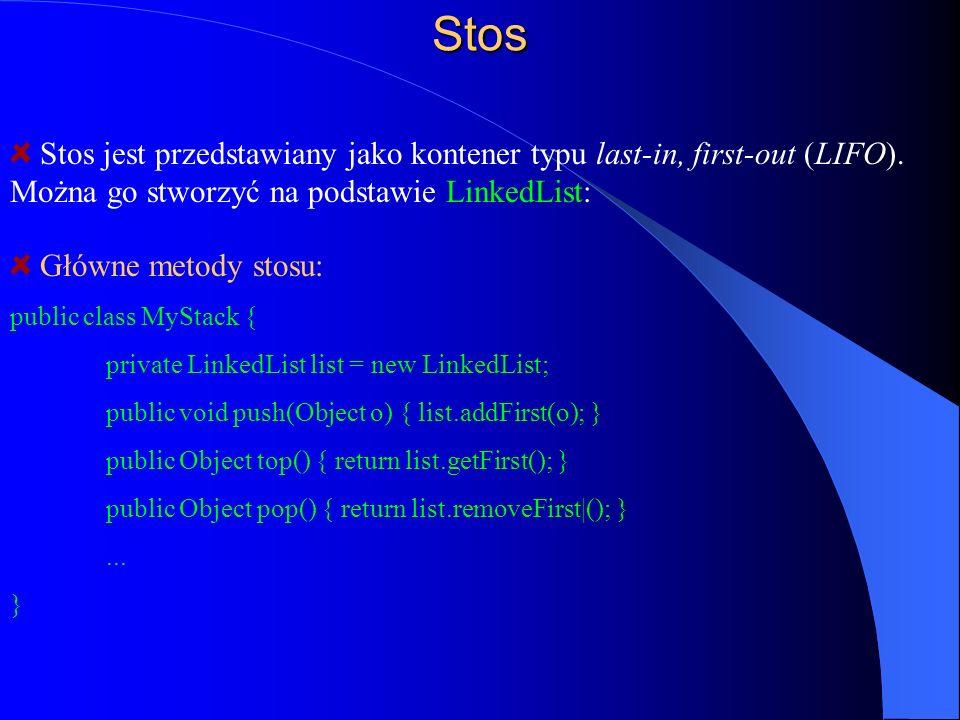 Stos Główne metody stosu: public class MyStack { private LinkedList list = new LinkedList; public void push(Object o) { list.addFirst(o); } public Obj