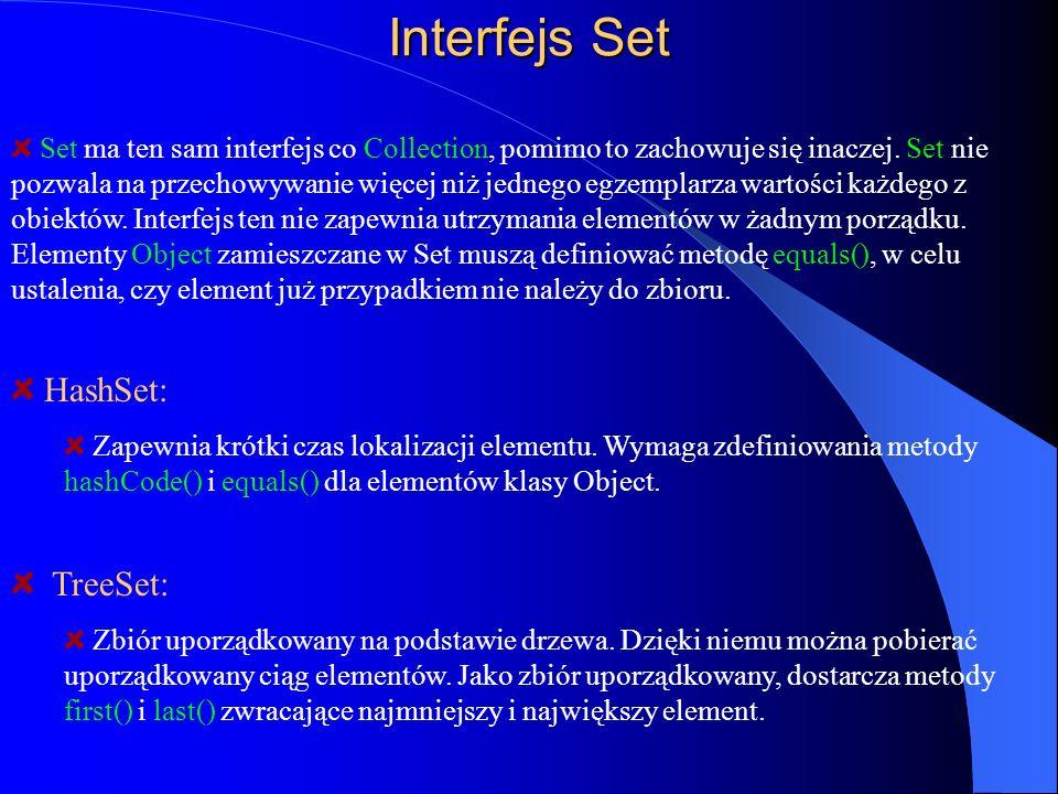 Interfejs Set Set ma ten sam interfejs co Collection, pomimo to zachowuje się inaczej. Set nie pozwala na przechowywanie więcej niż jednego egzemplarz