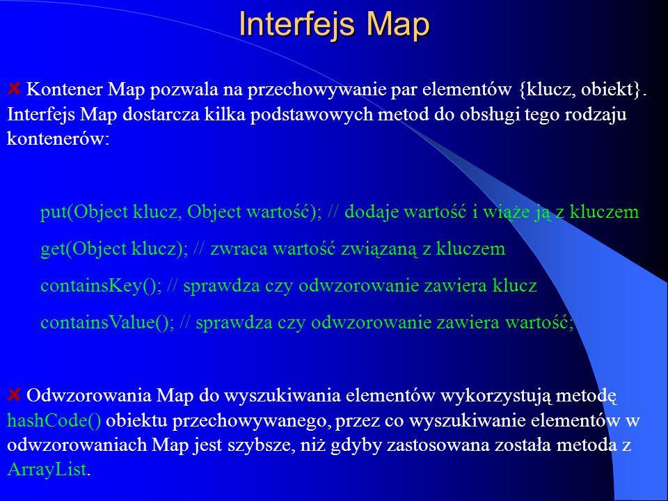 Interfejs Map Kontener Map pozwala na przechowywanie par elementów {klucz, obiekt}. Interfejs Map dostarcza kilka podstawowych metod do obsługi tego r