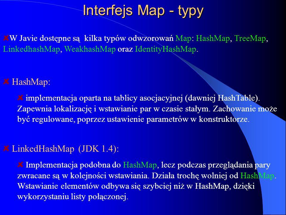 Interfejs Map - typy W Javie dostępne są kilka typów odwzorowań Map: HashMap, TreeMap, LinkedhashMap, WeakhashMap oraz IdentityHashMap. HashMap: imple