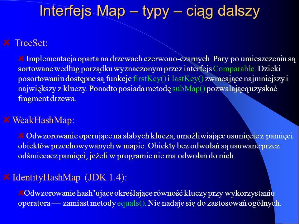Interfejs Map – typy – ciąg dalszy WeakHashMap: Odwzorowanie operujące na słabych klucza, umożliwiające usunięcie z pamięci obiektów przechowywanych w